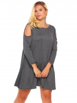 Gray Plus Size Cold Shoulder Long Sleeve Solid Loose Dress