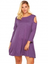 Purple Plus Size Cold Shoulder Long Sleeve Solid Loose Dress