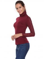 Wine red Turtle Neck Long Sleeve Lace Patchwork Slim Tops