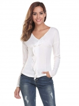 White V-Neck Long Sleeve Solid Ruffle Tops
