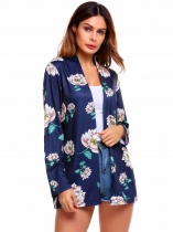 Navy blue Long Sleeve Print Floral Open Front Cardigan