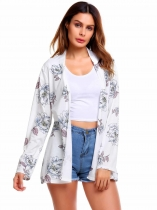 White Long Sleeve Print Floral Open Front Cardigan
