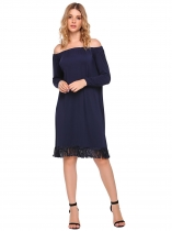 Navy blue Off the Shoulder Long Sleeve Fringed Dress