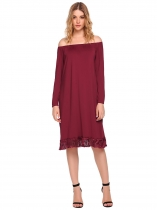 Wine red Off the Shoulder Long Sleeve Fringed Dress