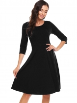 Black Vintage 3/4 Sleeve Solid O Neck Audrey Hepburn Elegante Rockabilly Swing Work Dress