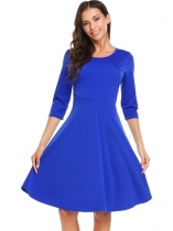Royal Blue Vintage 3/4 Sleeve Solid O Neck Audrey Hepburn Classy Rockabilly Swing Work Dress