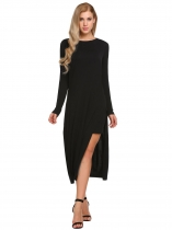 Black Long Sleeve O-Neck Split Sides One Piece Casual Midi Dress