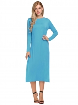Blue Femmes à manches longues O-Neck Split Sides One Piece Casual Robe Midi