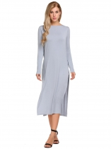 Grey Long Sleeve O-Neck Split Sides One Piece Casual Midi Dress