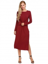 Wine red Long Sleeve O-Neck Split Sides One Piece Casual Midi Dress
