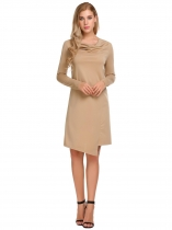 Camel Cowl Neck Long Sleeve Asymmetrical Hem Solid Casual Loose Dress