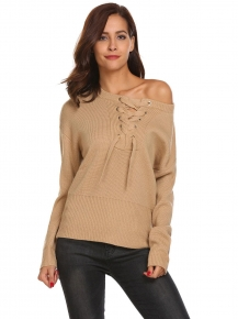 Khaki Women Casual Long Sleeve Lace Up Neck Weave Knit Sweater Pullover Tops 4abd25419a