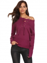 Purple Red Women Casual Long Sleeve Lace Up Neck Weave Knit Sweater Pullover Tops