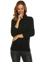 Black Women Casual High Neck Long Sleeve Solid Warm Sweater