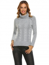 Grey Women Casual High Neck Long Sleeve Solid Warm Sweater