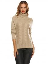 Khaki Women Casual High Neck Long Sleeve Solid Warm Sweater