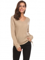 Khaki Women Casual V Neck Long Sleeve Loose Knitted Side Lace Up Pullover Sweater Tops
