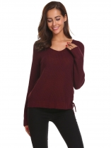 Vinho tinto Mulheres Casual V Neck manga comprida Loose Knitted Side Lace Up Pullover Sweater Tops
