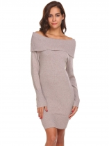 Khaki Women Casual Off Shoulder Long Sleeve Slim Bodycon Knitted Tunic Sweaters