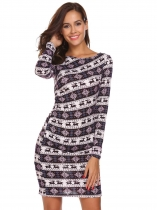 Black Christmas O Neck Long Sleeve Printed Slim Waist Bodycon Dress