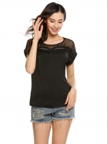 Black Mesh Patchwork O-Neck Short Sleeve Loose Blouse