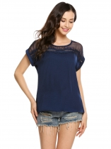 Navy blue Mesh Patchwork O-Neck Short Sleeve Loose Blouse