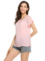 Pink Mesh Patchwork O-Neck Short Sleeve Loose Blouse