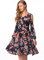 Navy blue V-Neck Cold Shoulder Floral Shift Dress