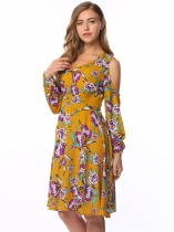 Yellow V-Neck Cold Shoulder Floral Shift Dress