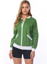 Green Full Zip Patchwork Short Baseball Bomber Jacket with Pocket