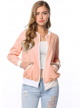 Pink Full Zip Patchwork Short Baseball Bomber Jacket with Pocket