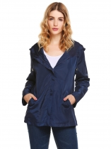 Dark blue Solid Weatherproof Long Sleeve Rain Coat