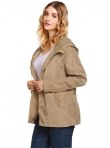 Khaki Solid Weatherproof Long Sleeve Rain Coat