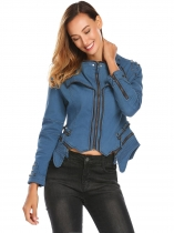 Royal Blue V-Neck Long Sleeve Solid Zipper Rivet Asymmetrical Hem Slim Fit Jacket Outwear
