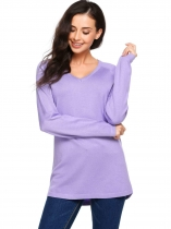 Purple Long Sleeve V Neck Solid Knit Pullover Sweaters