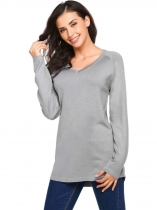Grey Long Sleeve V Neck Solid Knit Pullover Sweaters