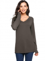 Dark gray Long Sleeve V Neck Solid Knit Pullover Sweaters