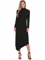 Black Turtleneck Long Sleeve Irregular Solid Dress