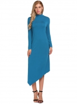 Blue Turtleneck Long Sleeve Irregular Solid Dress