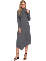 Dark gray Turtleneck Long Sleeve Irregular Solid Dress