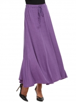 Light purple Elastic Waist with Drawstring A-Line High Slit Skirt
