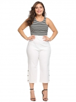 White Plus Size High Waist Solid Stretch Button Split Capri Pants