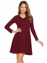 Wine red V-Neck Long Sleeve Solid Dress with Belt