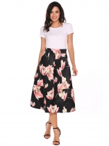 Black High Waist Pleated Print Midi Skirts