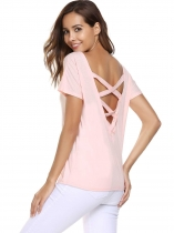 Pink Solid Short Sleeve Back Criss Cross Cut Out Loose T-Shirts