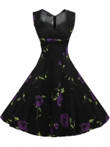 Black Purple 1950s Vintage Sleeveless Pentagon Neck Swing Dress