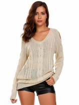 Apricot V-Neck Long Sleeve Solid Cold Shoulder Sweater