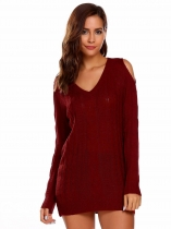 Wine red V-Neck Long Sleeve Solid Cold Shoulder Sweater