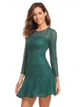 Dark green Women Fashion O-Neck Long Sleeve Lace Slim Mini Dress
