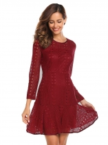 Vinho rouge Femmes Fashion O Neck Long Sleeve Lace Slim Mini Dress